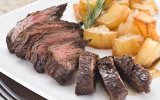 Marinated beef with Golden potatoes